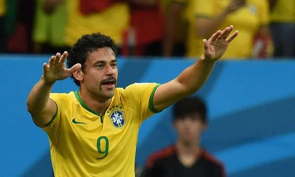 Brazil forward Fred celebrates after scoring during a
