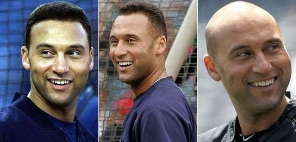 From left, Yankees shortstop Derek Jeter in 2001, 2008 and 2014.