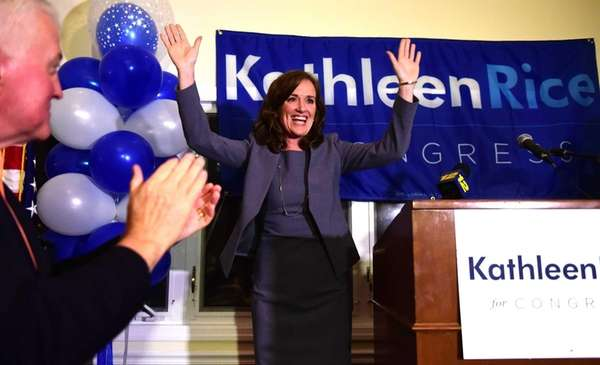 Congressional candidate Kathleen Rice waves to supporters after