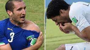 This combo of 2 photos shows Italy's defender