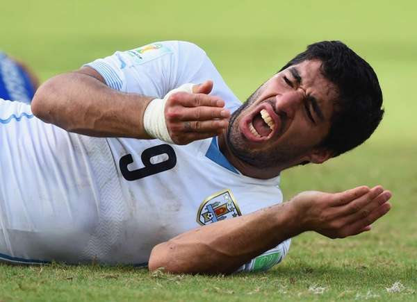 Luis Suarez of Uruguay reacts during the 2014