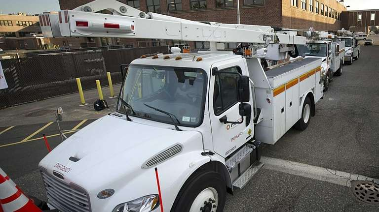 A PSEG service truck comes out of the