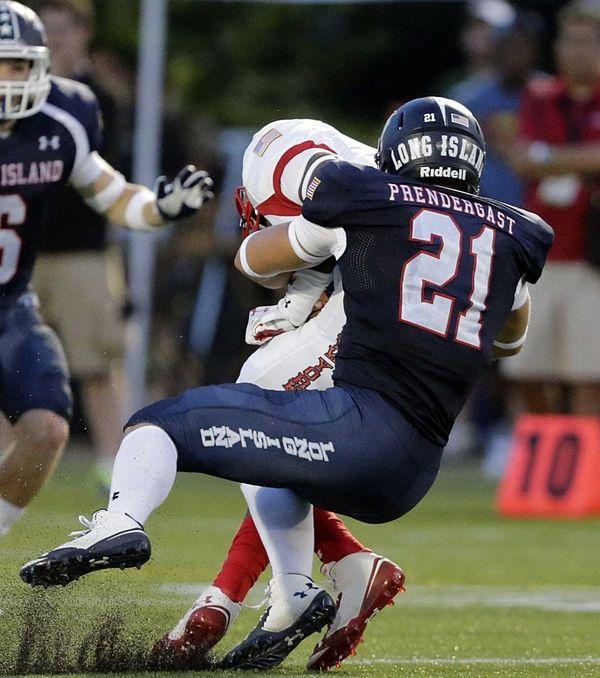 Long Island linebacker Lawson Prendergast (21) sacks New