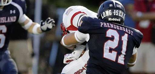 Long Island linebacker Lawson Prendergast (21) sacks New