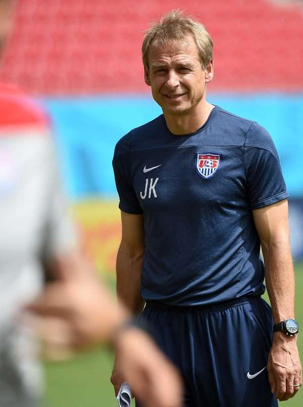U.S. coach Juergen Klinsmann attends a training session