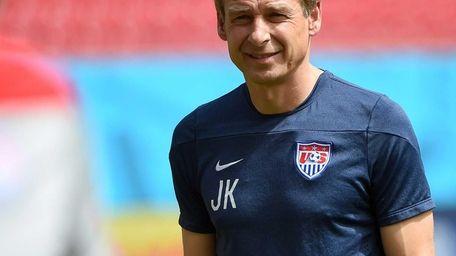 U.S. coach Juergen Klinsmann attends a training session