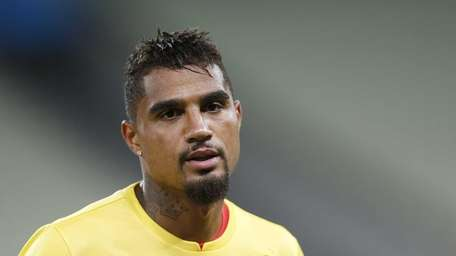 Ghana's Kevin-Prince Boateng warms up during an official