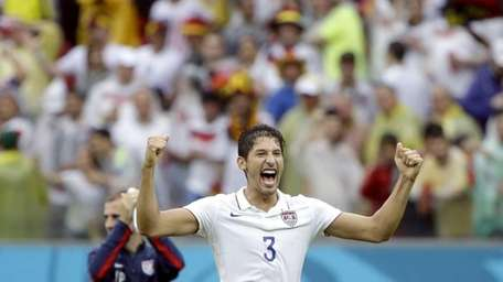 United States' Omar Gonzalez celebrates after qualifying for
