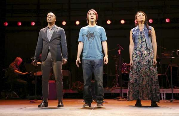 From left, Leslie Odom Jr., Lin-Manuel Miranda and