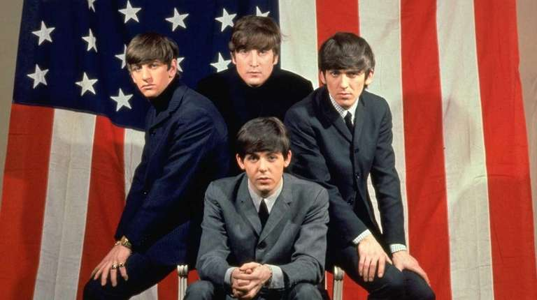 The Beatles, clockwise from top center, John Lennon,