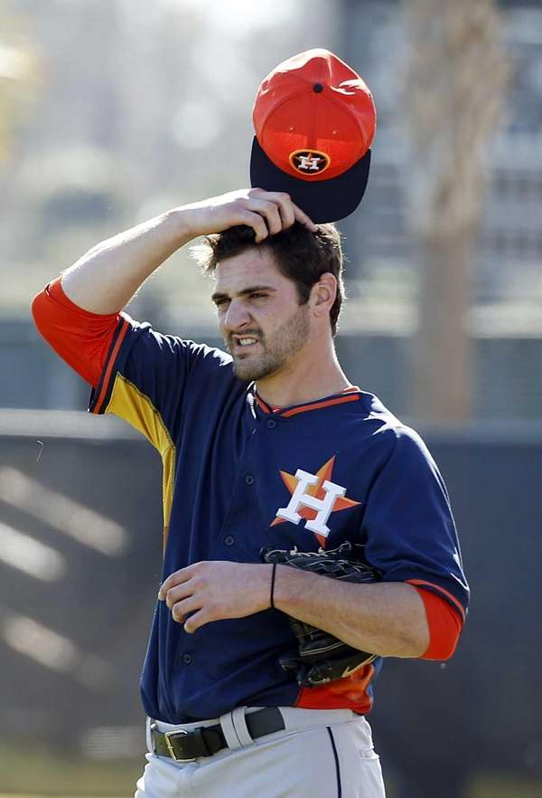 Houston Astros pitcher Nick Tropeano pauses during a