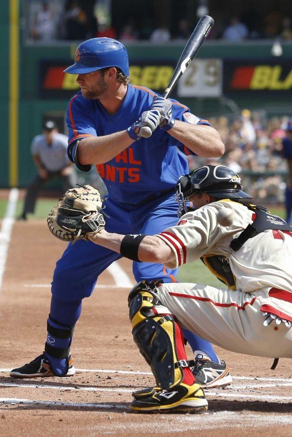 The Mets' Kirk Nieuwenhuis bats against Pirates starter