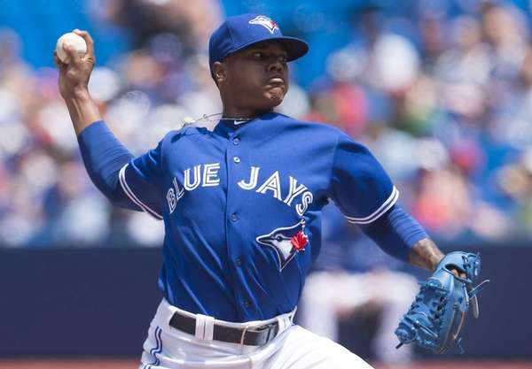 Toronto Blue Jays starting pitcher Marcus Stroman works