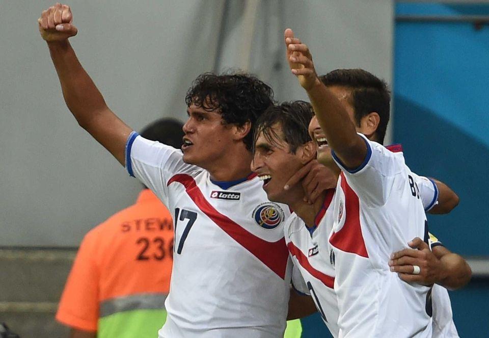 Costa Rica forward Bryan Ruiz celebrates with Costa