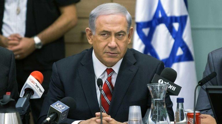 Israeli Prime Minister Benjamin Netanyahu speaks during a