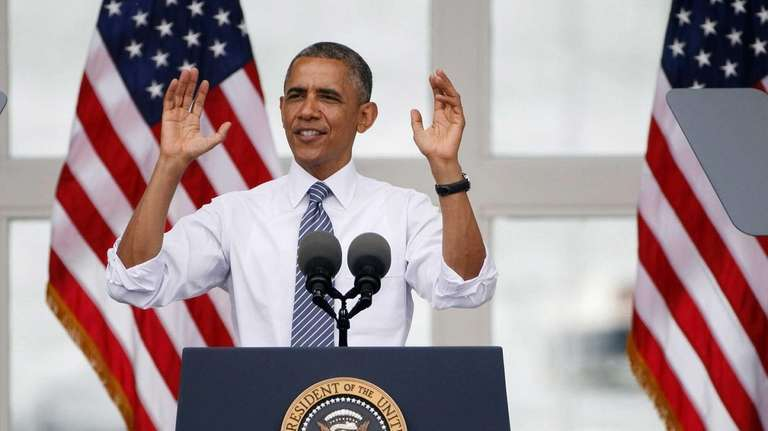 President Barack Obama speaks to a crowd gathered