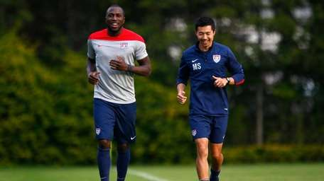 ozy Altidore of the United States jogs around