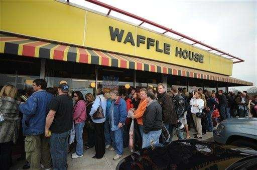???A line forms outside of a Waffle House