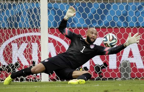 United States goalkeeper Tim Howard saves a shot