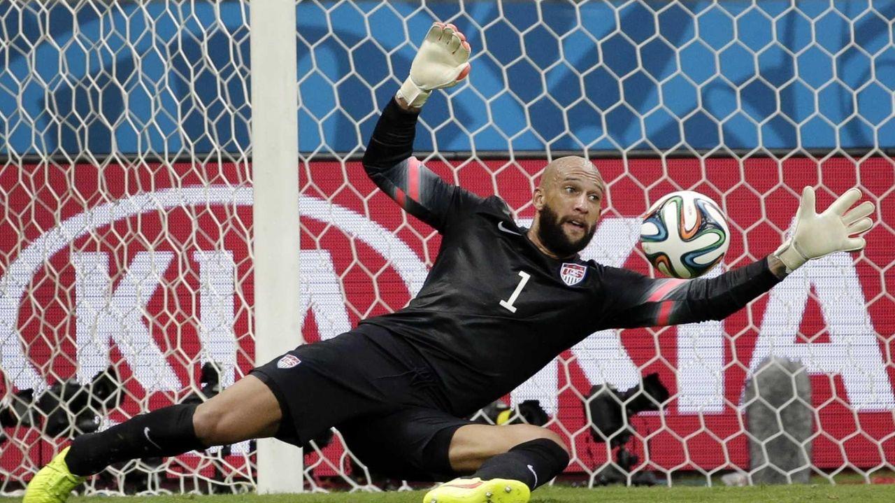United States goalkeeper Tim Howard saves a shot