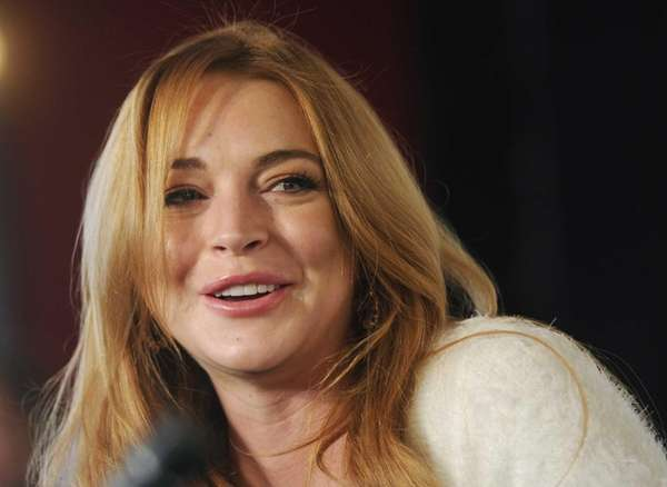 Lindsay Lohan during a news conference at the