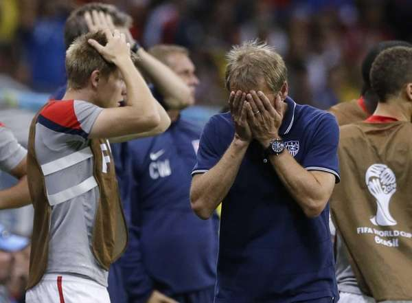United States head coach Juergen Klinsmann reacts during