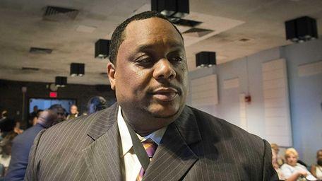 Hempstead School board president Lamont Johnson in the