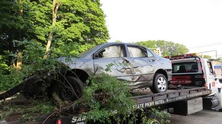 The car that slammed into trees off the