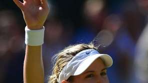 Canada's Eugenie Bouchard celebrates winning her women's singles