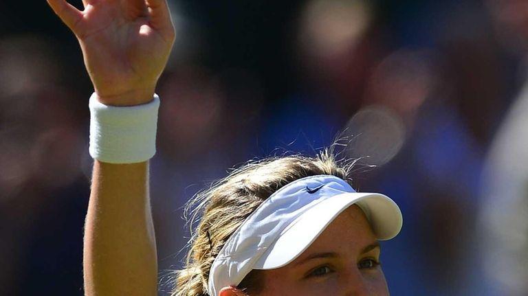 Canada's Eugenie Bouchard celebrates winning her women's singles