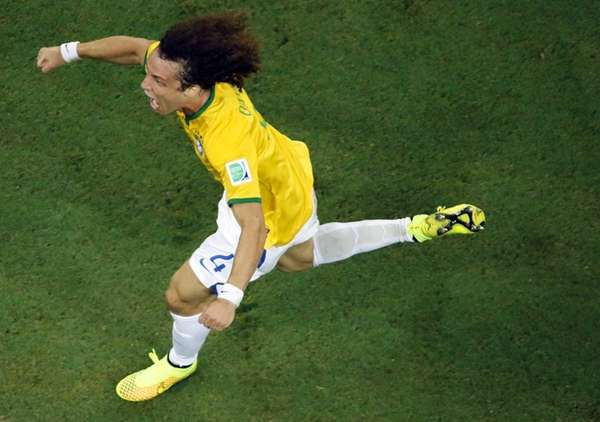 Brazil's David Luiz celebrates after scoring his side's