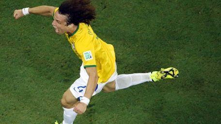 Brazil's David Luiz celebrates after scoring his side's