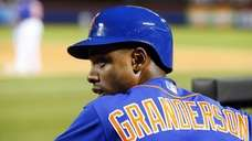 Curtis Granderson #3 of the Mets looks on