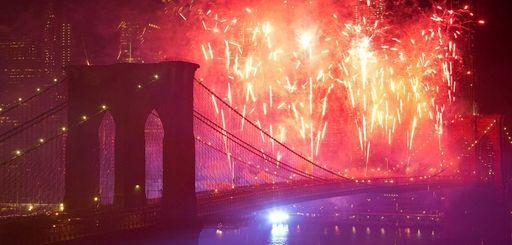 Fireworks light up the lower Manhattan skyline during