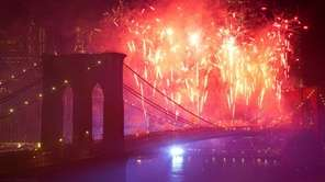 Fireworks light up the lower Manhattan skyline during