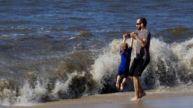 Jordan Schmidt and his daughter Madeline, 4, from