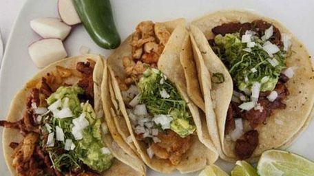 Tacos -- from left, pastor (pineapple-seasoned pork), pollo