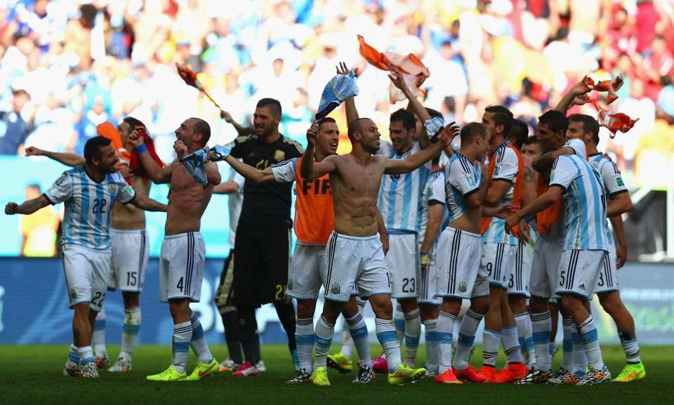 Argentina celebrate defeating Belgium 1-0 during the 2014