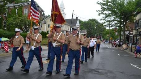 United States Marine Corp. Marching in annual Port