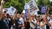 Long Island Rail Road union workers and supporters