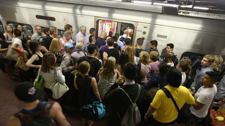Crowds gather on the LIRR platform for the