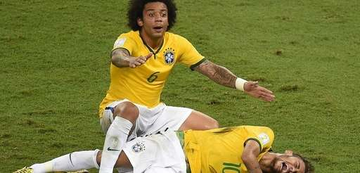 Defender Marcelo shouts for help after Brazil's forward