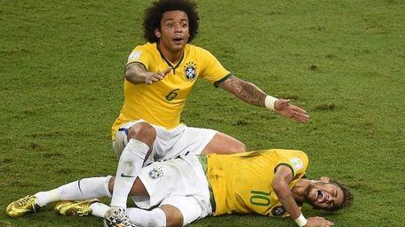 Defender Marcelo shouts for help after Brazil's forward
