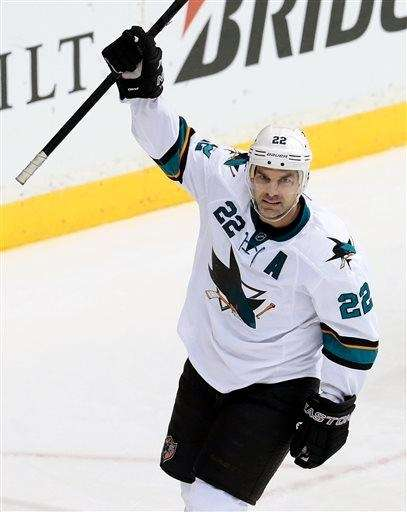 San Jose Sharks defenseman Dan Boyle celebrates after