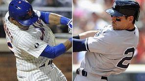 Mets centerfielder Juan Lagares and Yankees centerfielder Jacoby