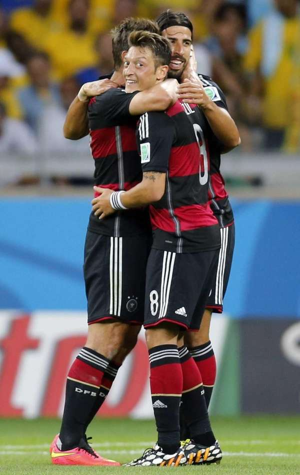 Germany's Miroslav Klose, Mesut Ozil and Sami Khedira,