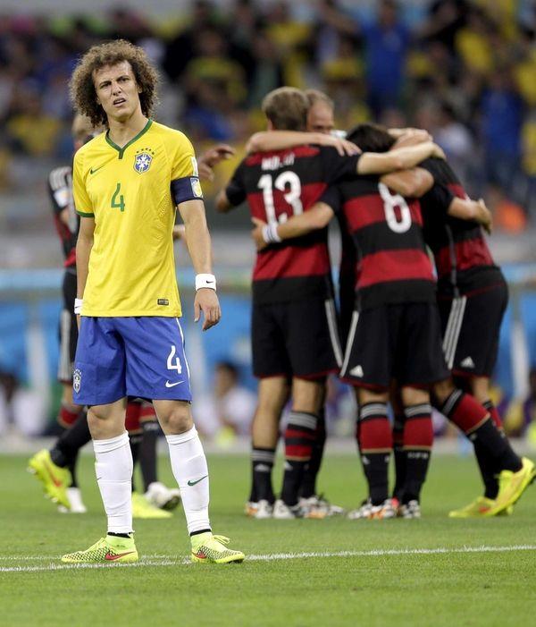 Brazil's David Luiz reacts after Germany's Sami Khedira