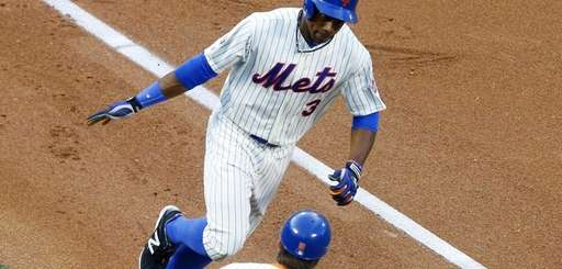 Curtis Granderson of the Mets celebrates his first