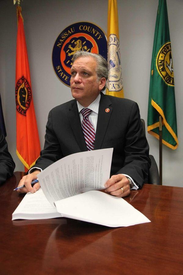 Nassau County Executive Edward Mangano meets with Bertrand