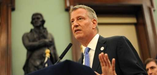 Mayor Bill de Blasio speaks during a press